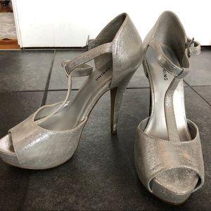Silver sparkly heels